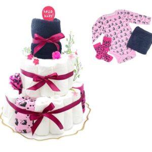 Blöjtårta XL till Babyshower Svart/cerise