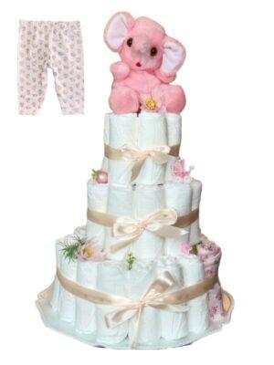 Blöjtårta XL till babyshower ROSA