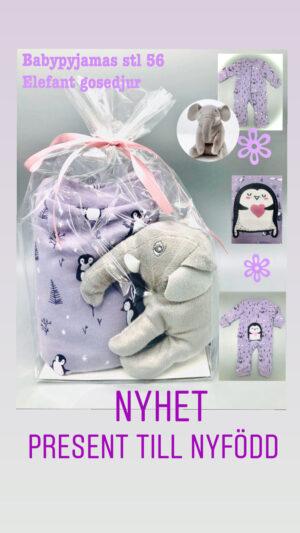 Presentpåse - Bebispyjamas stl 56 + gosedjur elefant